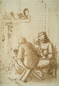 the holy family seated before a hearth by luca cambiaso