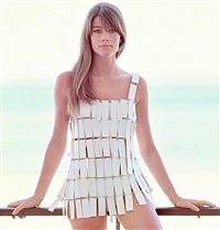 françoise hardy wearing a dress designed by paco rabanne, paris by jean-marie périer