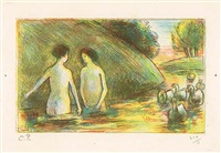 baigneuses gardeuses d'oies (bathing women tending geese) by camille pissarro