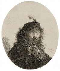 self-portrait with plumed cap and lowered sabre by rembrandt van rijn