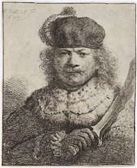 self-portrait with raised sabre by rembrandt van rijn