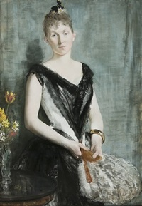 young woman with a fan by henri gervex