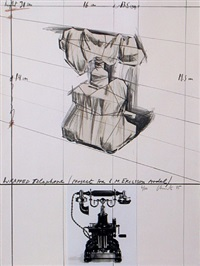 wrapped telephone, project for l.m. ericsson model by christo and jeanne-claude