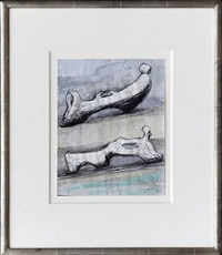 two reclining figures: bone by henry moore