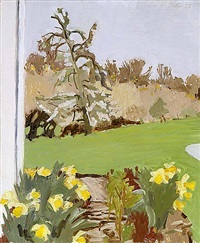 daffodils and pear tree by fairfield porter