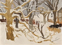 winter landscape (snow) by fairfield porter