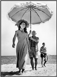 france. golfe-juan. august, 1948. pablo picasso and françoise gilot. by robert capa