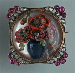 exquisite reverse painted crystal brooch by karl carius