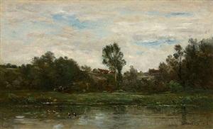 bord de rivière by charles françois daubigny