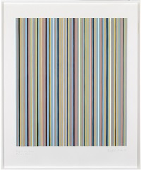 turquoise, red, yellow, blue and black by bridget riley