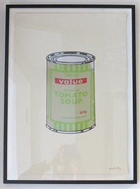 soup can – sage green / lime / cherry by banksy