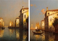 the gondolier & dusk in venice (a pair) by antoine bouvard