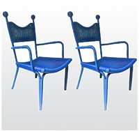 jean royere personal pair of rattan blue arm chairs from his beach house in brittany/paire de fauteuil personnelle en rotin bleu de sa maison d'auray en bretagne by jean royère