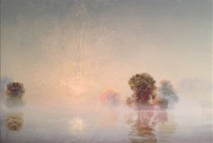 flooded river, clearing dawn (mass moca #209) by stephen hannock