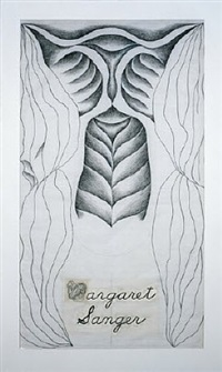 margaret sanger, gridded runner drawing by judy chicago