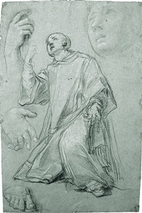 a kneeling saint, with studies of hands, a foot, and a head by carlo maratta