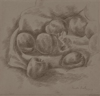 plums on white cloth by marsden hartley