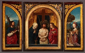triptychon mit schmerzensmann, betrauert von maria und dem hl. johannes by jacob cornelisz van oostsanen