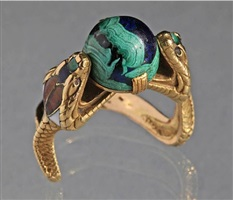 symbolist serpent ring, the hooded cobras clutching a blue green cabochon 'world' by charles boutet de monvel