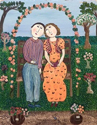 lovers in a rose bower by dora holzhandler