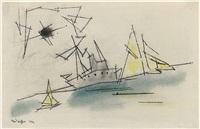 dampfschiff und zwei segelboote by lyonel feininger