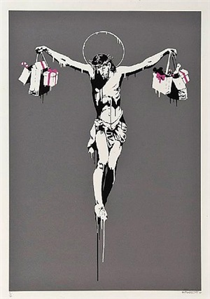 christ with shopping bags by banksy