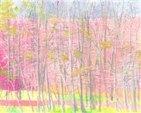 tangly woods in pink & green by wolf kahn