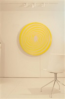 elliptical kinetic painting in yellow and violet by francis celentano