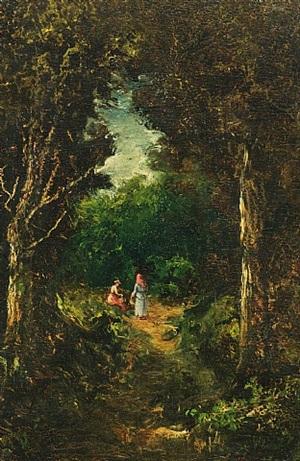 two women in a landscape by ralph albert blakelock