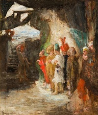 judas flinging the pieces of silver into the temple by james ensor