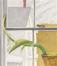window with amaryllis plant by lois dodd