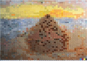 haystack #3, after monet (from pictures of colors) by vik muniz
