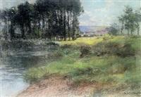 bord de marne by léon augustin lhermitte