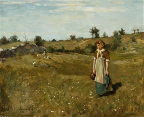 woman in a field by willard leroy metcalf