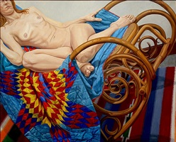 model on bentwood rocker and american quilt by philip pearlstein