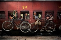 bicycles on side of train by steve mccurry