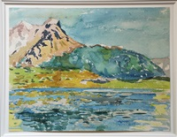 mountains and lake in val bregaglia by alberto giacometti