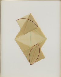 parallelogram with two small squares (from vellum curve series) by dorothea rockburne