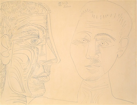 deux têtes (two heads, including a self-portrait of the artist as a young man) by pablo picasso