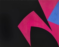 magical space forms (black, fuchsia) by lorser feitelson