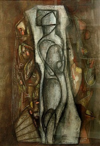 untitled composition with figure by béla kádár