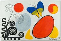 blue and yellow butterfly by alexander calder