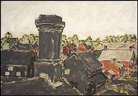 lot # 125: chimney on wallace avenue, palgrave, ontario by david brown milne