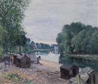 cabanes au bord de loing by alfred sisley
