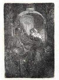 woman at a door hatch talking to a man by rembrandt van rijn