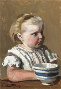 l'enfant a la tasse, portrait de jean monet by claude monet