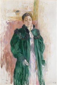 girl in a green coat by berthe morisot