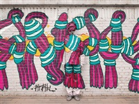 hiding in the city - beijing graffiti no.1 by liu bolin