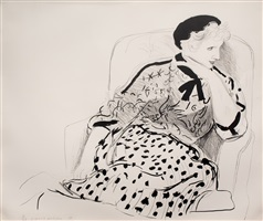 celia in an armchair by david hockney