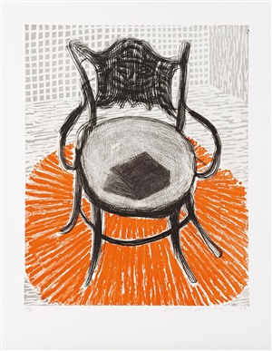chair with book on red carpet by david hockney